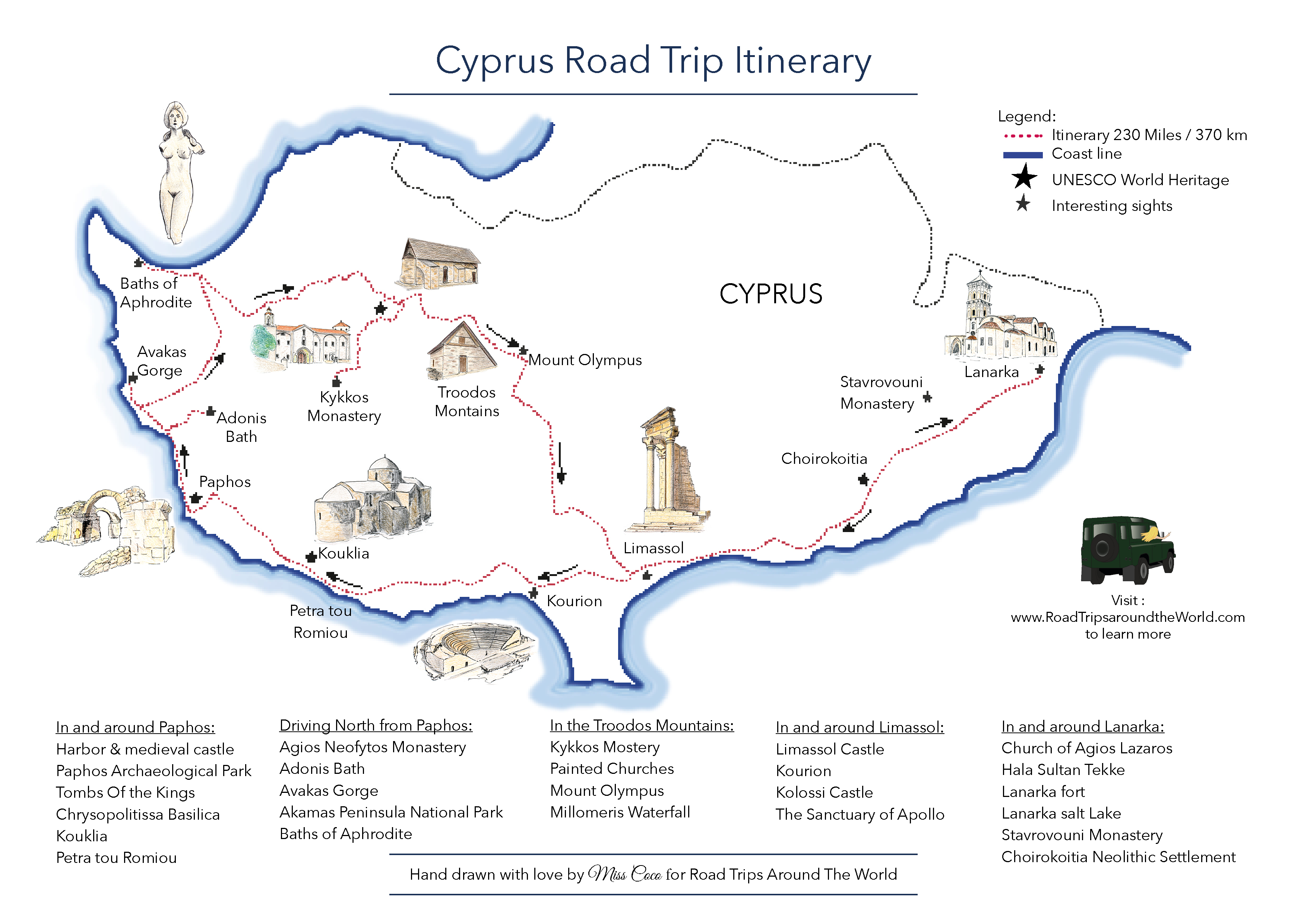 A Road Trip In Cyprus Free Printable Map Road Trips Around The World