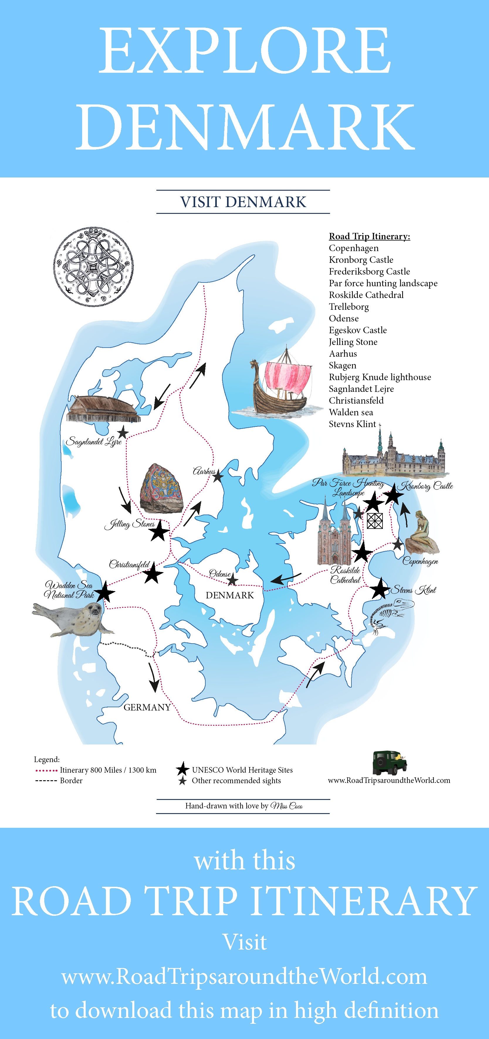 A Road Trip in Denmark: Free printable map available on RTatW